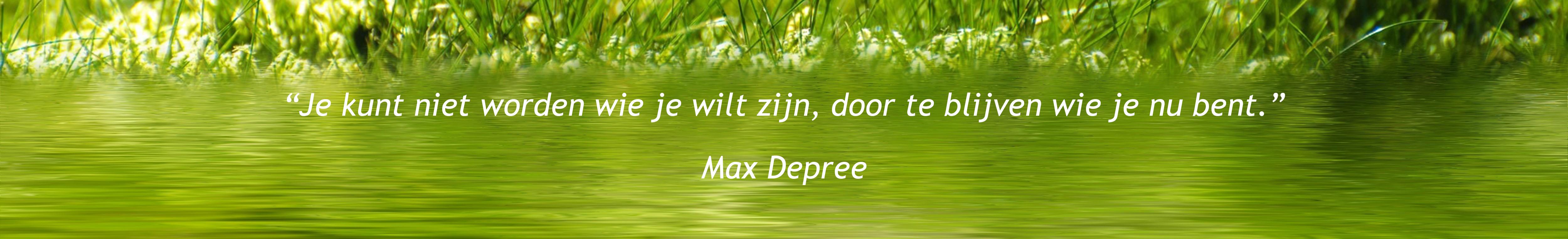 """""""Je kunt niet worden wie je wilt zijn, door te blijven wie je nu bent."""" Max Depree"""